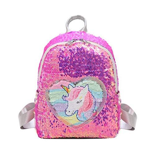 lentejuelas mochila de unicornio bolso de hombro de viaje con brillo mochila mochila casual para mujeres niñas