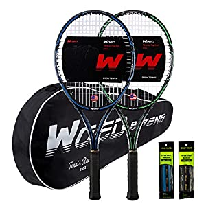 """WOED BATENS Adult 2 Player Tennis Racket Perfect for Beginner and Professional Players, 27"""" Speed Tennis Racquet Include 2 Overgrips, Tennis Bag, 2 Vibration Dampes, 2 Covers"""