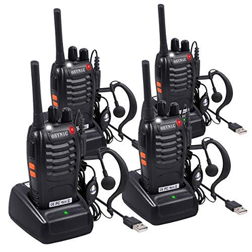 ESYNiC 4pz Walkie Talkie Lunga Distanza Due-Via Radio UHF 400-470MHz con Auricolari...