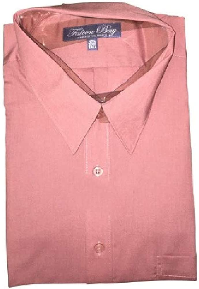 Falcon Bay 17.5 Neck Big and Tall Comfort Collar Wrinkle Free Salmon Colored Dress Shirt Laydown Collar