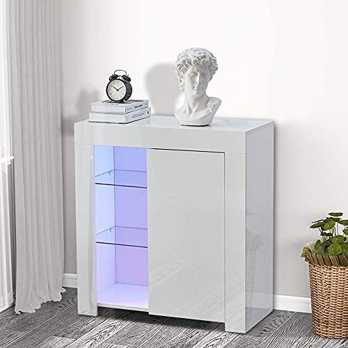 Lemore - Aparador blanco lacado LED brillante 1 puerta, mueble de almacenamiento de salón con iluminación RGB 12 colores, estilo moderno, aparador de mueble mueble de salón blanco