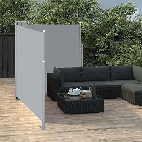 Festnight Tuinscherm uittrekbaar dubbel Tuinzonwering Intrekbaar zonnescherm Polyester zonnescherm Buiten Privacyscherm voor bescherming tegen wind en zon 170x600 cm antraciet