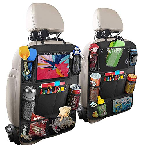 Backseat Car Organizer Kick Mats back seat storage bag with Clear Screen Tablet Holder and 10 Storage Pockets,Car Seat Back Protectors with USB/Headphone Slits for Toys Drinks Book Kids Toddler Travel