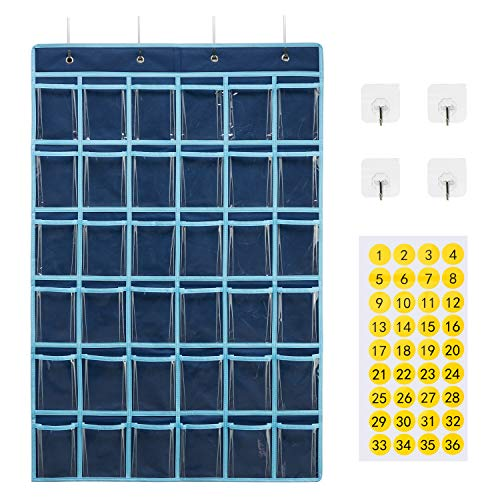 SAVERHO Classroom Pocket Chart for Cell Phone and Calculator Holder, Door Clear Hanging Pocket Chart for Classroom with Number Sticker (36 Pockets)