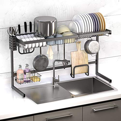 """Over Sink Dish Drying Rack KUFA Adjustable Kitchen Utensil Storage Organizer Holder Stainless Steel Paint Counter Drainer Shelf Above Drainage Drainboard Set for Single and Double Bowl ≤ 39"""""""
