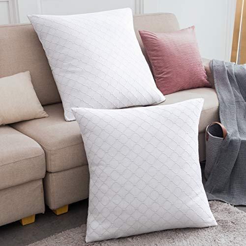 """PHF 100% Cotton Matelasse Textured Euro Sham, 26""""x 26', Set of 2, Home Decorative Euro Throw Pillow Covers for Couch Sofa Bed, No Filling, White, Zipper Closure"""