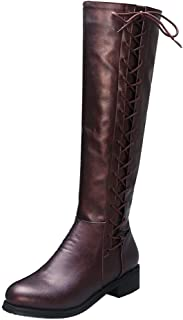 Melady Women Fashion Knee High Boots Low Heels Zipper