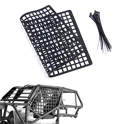 RCLions Rubber RC Car Window Net, Luggage Net Vehicle Scale Accessories for 1/10,1/8 RC Crawler Car (Black)