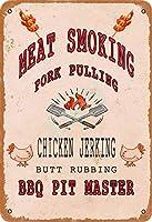 肉喫煙豚肉プルチキンジャークバットこするバーベキュー金属ヴィンテージティンサイン壁の装飾インチカフェコーヒーバーレストランパブマン洞窟装飾