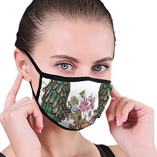 Multifunktionale Gesichtsschutzhülle,Weinlese-Orchideen-Blumenstrauß Mit Federflügeln Exotisches Frühlingsschönheit-Dschungel-Muster Unisex Waschbar Wiederverwendbare Gesichtsdekorationen Für Persön