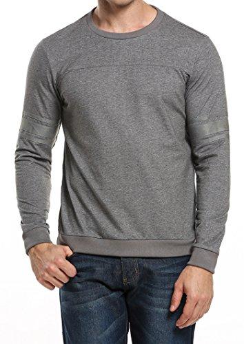 COOFANDY Herren T-Shirt Basic mit Rundhalsausschnitt Shirt für Männer Einfarbig Slim Fit Langarmshirt