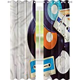 Cortina opaca para ventana de Indie Gramophone Records Audio W52 x L84 Cortinas de oscurecimiento para sala de estar