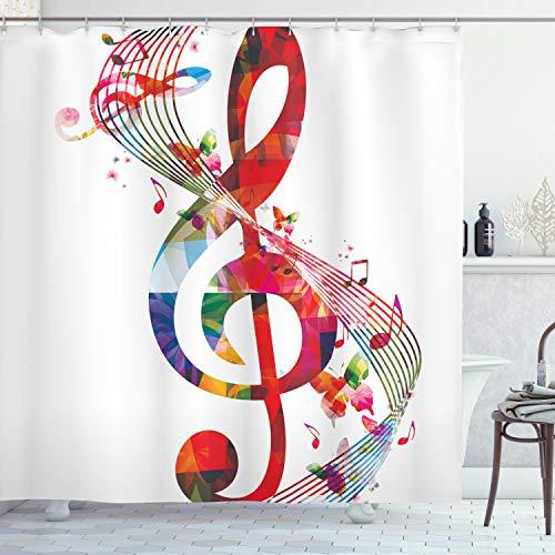 ABAKUHAUS Duschvorhang, Riesiges Violinschlüssel in Regenbogen Farben Eine Komposition aus Verschiedenen Tönen Druck, Blickdicht aus Stoff inkl. 12 Ringen Umweltfre&lich Waschbar, 175 X 200 cm