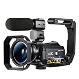 Ordro AC3 4K Camcorder Digital Video Camera 1080P 60FPS Infrared Night Vision 3.1' IPS Screen with Microphone, Wide Angle Lens, Lens Hood, 32GB SD Card, Handle,2 Batteries,Carrying Case