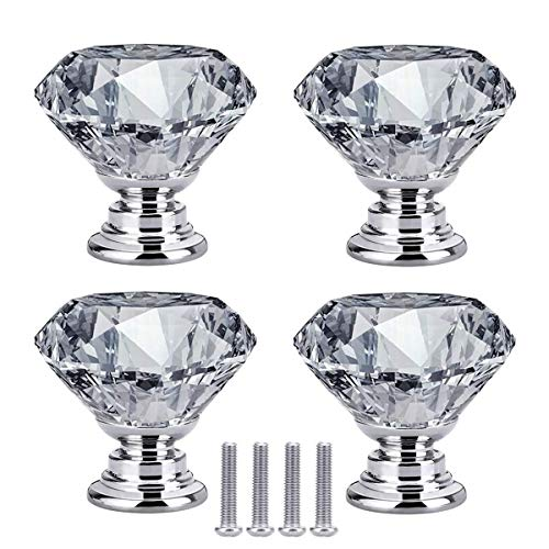 Maniglia per cassetto, 4 pomelli in cristallo a forma di diamante, colore: bianco