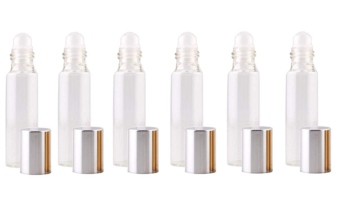6PCS 10ml Empty Refillable Clear Glass Roll-on Bottles with Silver Lid and Glass Roller Ball Roller Bottles Vial Portable Container Jar For Fill Essential Oil Perfume liquids