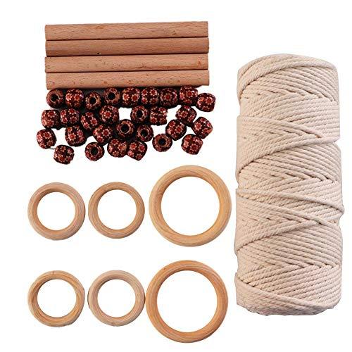 Cuerda de algodón de macramé, rollo de 100 m, 3 mm con 4 varillas y 6 anillos de madera, 50 cuentas para colgar plantas, bricolaje, decoración, artesanía, manualidades