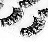 AJOY 3 Pairs Full Thick 3D Packet False Eyelashes Black, Super Long Style (M-03K)