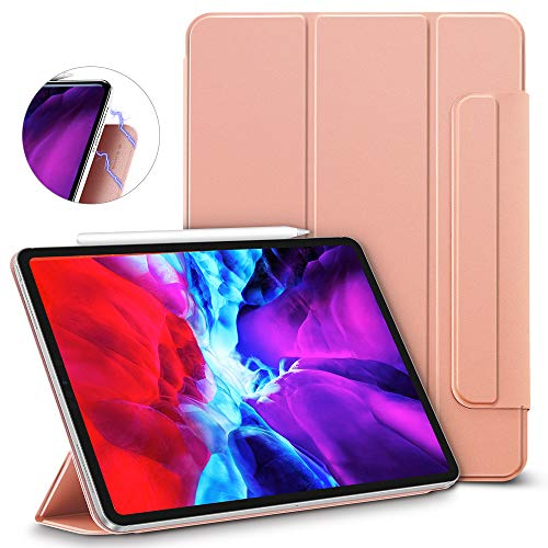 ESR Rebound Magnetic Smart Case for iPad Pro 12.9' 2020/2018, Convenient Magnetic Attachment, Auto Sleep/Wake Trifold Stand Case - Rose Gold