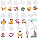 Coopay 16 Pieces Clear Square Fuse Beads Pegboards Different Shapes Car Pegboards Small Plastic Template Beads Boards with 16 Pieces Colorful Cards for Kids Craft Beads