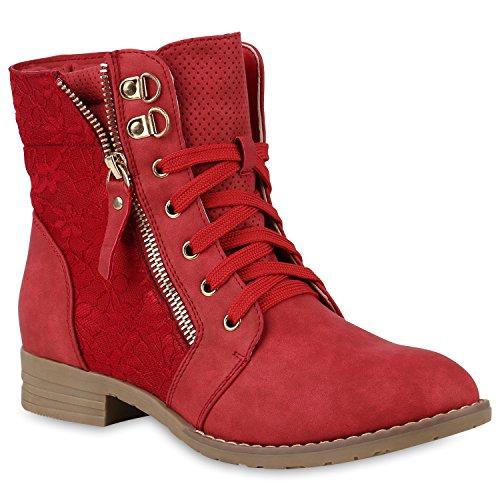 Stylische Damen Stiefeletten Worker Boots Spitze Knöchelhohe Stiefel Gesteppt Damen Leder-Optik Zipper Ketten Schuhe 146974 Rot 42 Flandell