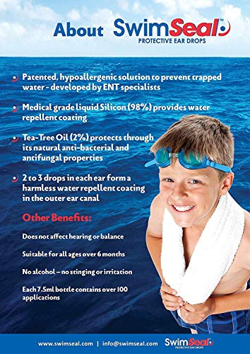 SwimSeal Ear Drops for Protection Against Trapped Water! Replaces Earplugs - Ideal for Swimming, Scuba Diving, Surfing, Triathlons & Hairwashing. All Ages and Kids over 6 Months.