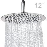 Topmail Alcachofa de ducha con efecto lluvia empotrable con boquillas Cabezal de Ducha antical de acero inoxidable pulido con 30x30cm (Redondo, 12 pulgadas)