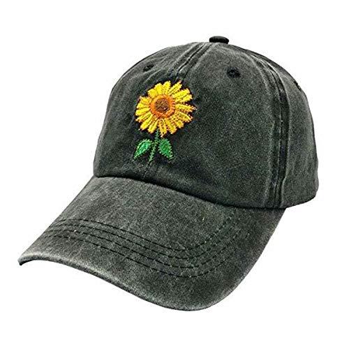 NVJUI JUFOPL Cute Sunflower Baseball Hats for Women Mom Girl Vintage Dad Cap Black