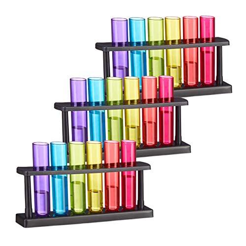 Set de 18 Vasos pequeños con Forma de Tubo de ensayo, con Soporte, Plástico, 4 cl, Multi-Color