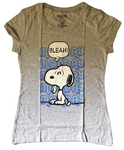 Peanuts Snoopy I Hate Monday camiseta de manga curta juvenil, Cinza, Large (11-13)