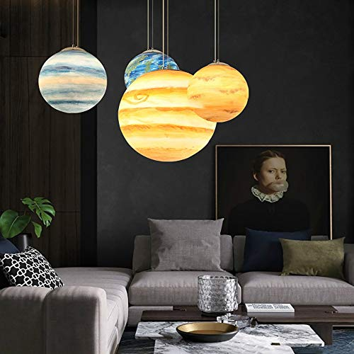 LCSD Lámpara de techo cósmico de nueve planetas, moderna, creativa, para café, restaurante, bar, resina, redondo, luna de tierra (color: urano)