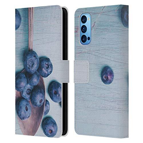 Head Hülle Designs Offizielle Olivia Joy StClaire Blaubeeren Auf Dem Tisch Leder Brieftaschen Handyhülle Hülle Huelle kompatibel mit Oppo Reno 4 Pro 5G