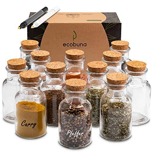 ECOBUNA ® Gewürzgläser Set mit Korkdeckel (12 x 150ml) runde Vorratsdosen aus Glas zur Aufbewahrung von Kräutern und Gewürzen, inklusive Glasmarker in schwarz & weiß