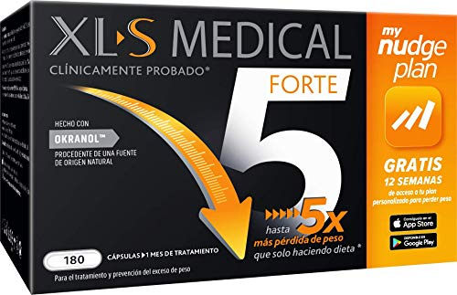 XLS Medical Forte 5 + Plan Nudge & Servicio Nutricionista Gratis, Origen Natural 100% Vegano, 1 Mes,...
