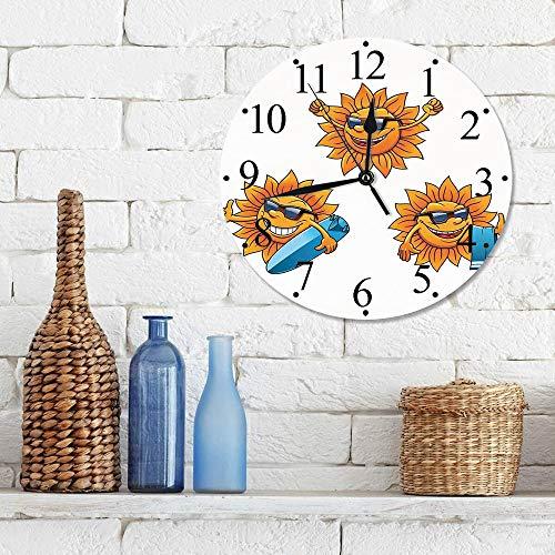 Silencioso Wall Clock Decoración de hogar de Reloj de Redondo,Dibujos animados, Personajes de Surf Sun con sombras y tablas de surf Diversión Hippie Summ,para Hogar, Sala de Estar, el Aula