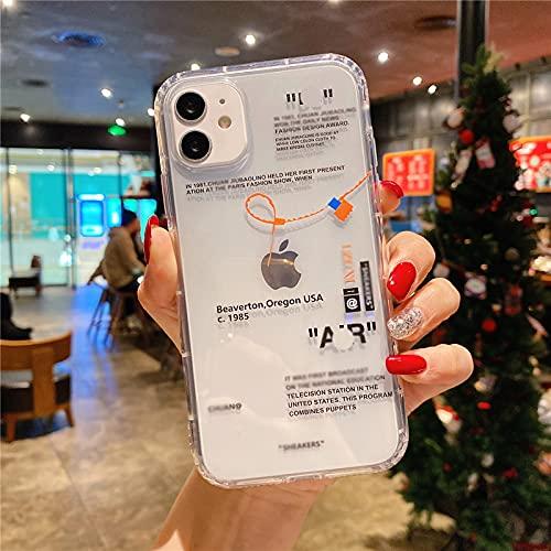 Hot Off Sports Shoes marca teléfono caso para iPhone 12 Mini 11 X XS Max XR 7 8 6 6s Plus Sneakers ins etiqueta blanca suave TPU cubierta - para iPhone 12