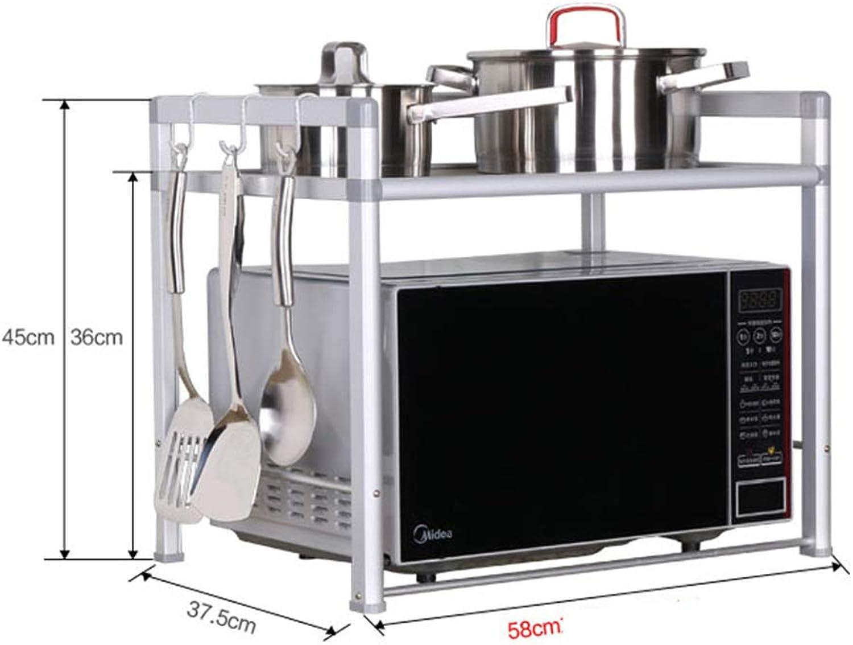 Kitchen Storage Shelf Microwave Oven Rack 2 Layer Space Aluminum Kitchen Storage Rack Oven Rack Seasoning Bottle Rack Organisation (Size   Width-58cm)