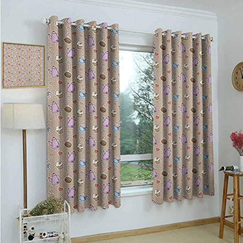 Gardome Blackout Curtains Tea Party,Coffee Bean Kettles and Cupcakes with Heart Frosting on Polka Dotted Background,Multicolor,for Bedroom,Nursery,Living Room 42'x72'