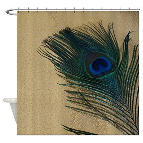 "CafePress Metallic Gold Peacock Decorative Fabric Shower Curtain (69""x70"")"