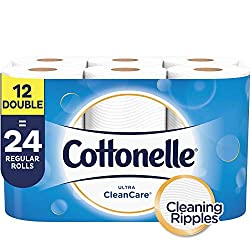 Cottonelle Ultra CleanCare, Toilet Paper, Double Rolls, 12 Count of 170 Sheets Per Roll
