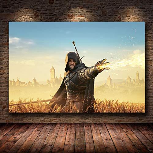 Yiwuyishi Póster de Guerrero Mago, pósteres de Videojuegos e Impresiones en Lienzo, Pintura de Pared, decoración artística para Sala de Estar, decoración del hogar, 50x70cm P-974