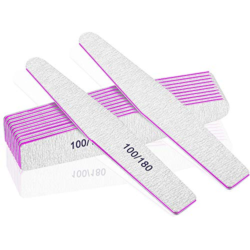 Professional Nail Files, Emery Board Nail File for Natural Nails 100/180/240 Grit Nail Files for Acrylic Nails 12pcs Fine Grit Nail File Manicure Tools Coarse Washable Fingernail Files… (100/180 Grit)
