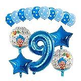 JSJJATF Globos 15 unids Plaz Payaso Helio Helio Balloons 30 Pulgadas Número Air Globos NIÑOS Fiesta de cumpleaños para niños Decoraciones de Ducha Bebé Detalles Regalos (Color : 09)