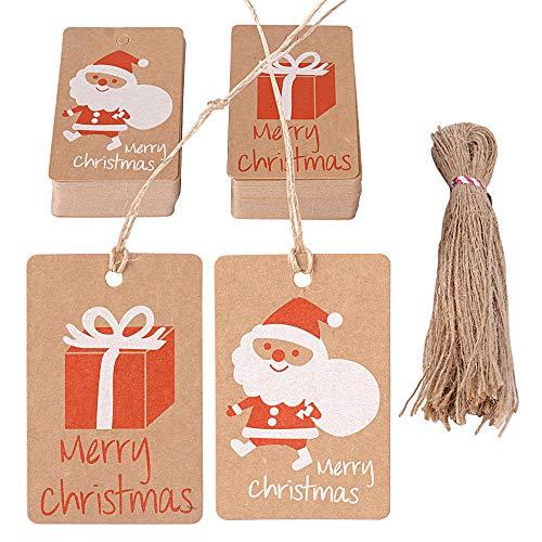 100pz Etichette Natalizie 100pz Corda Iuta Targhette Cartellini Carta Cartellini Piccole Rosso Decorazione per Natale Regalo Scatole Bomboniere Sacchetti (50pz babbo natale + 50pz scatole regalo)