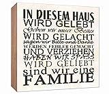 Holzschild Familien Regeln Holzbild zum hinstellen oder aufhängen Bild mit Spruch aus Holz Wandschild Dekoschild