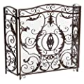 Christopher Knight Home Waterbury Fireplace Screen, Gold Flower On Black from Great Deal Furniture