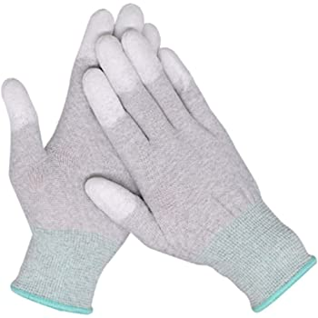 Convenient Family Must-Have Repair Tool for Computer//Electronic//Phone Repair Pair of 2 Anti Static ESD Safe Universal Size PU Fingertip Coating Gloves for Phone