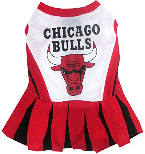 Pets First NBA Chicago Bulls Dog Cheerleader Dress, Medium
