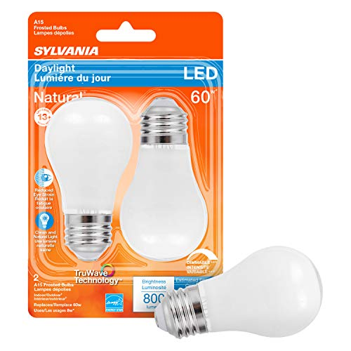 SYLVANIA LED TruWave Natural Series Ceiling Fan / Fixture Light Bulb, 60W A15 Daylight Medium Base, Dimmable, Frosted - 2 Pack
