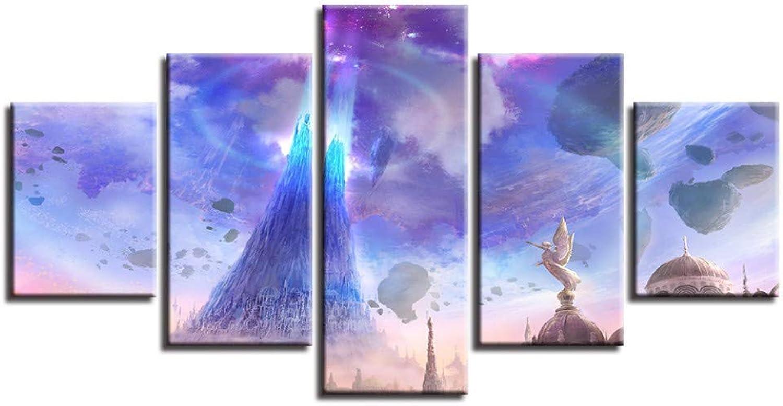 muy popular Giow Pinturas sobre Lienzo Marco de Decoración para para para el hogar HD Prints 5 Unidades ángeles Luces Rocas Flotantes Imágenes Juego Poster Modular Wall Art  alta calidad general